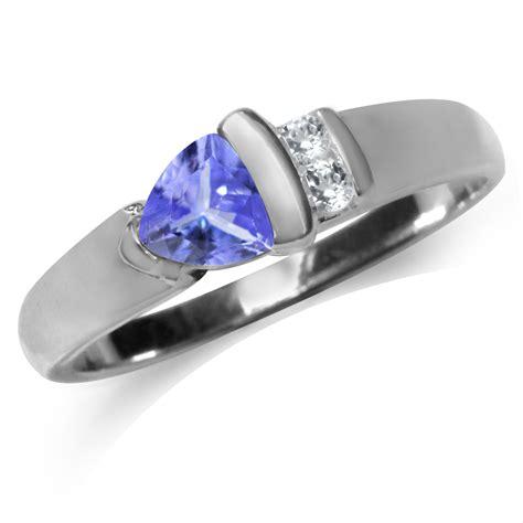 genuine tanzanite white topaz 925 sterling silver ring