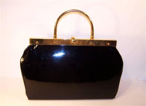 Versace Alma Glossy 1950 s stylecraft black patent leather handbag