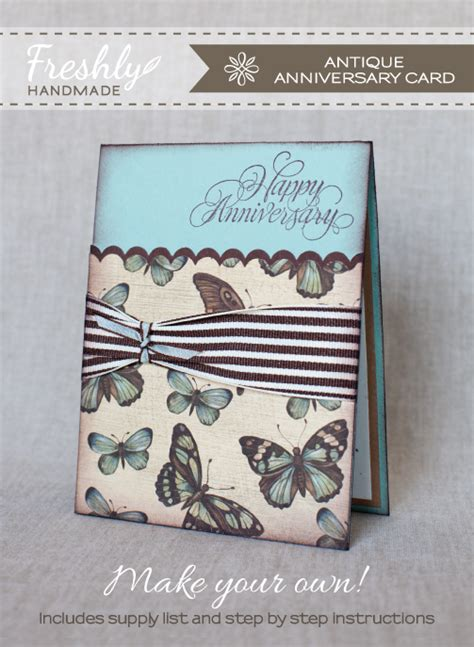 Handmade Card Tutorials - freshly handmade antique anniversary card tutorial