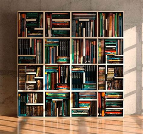 A Bookcase Shaped Like A Cool Letter Shaped Shelves Hative
