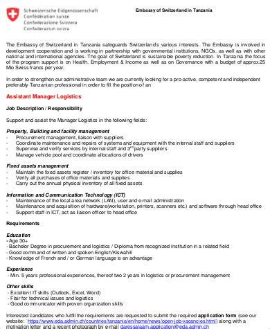 logistics manager description logistics assistant description sle 9 exles