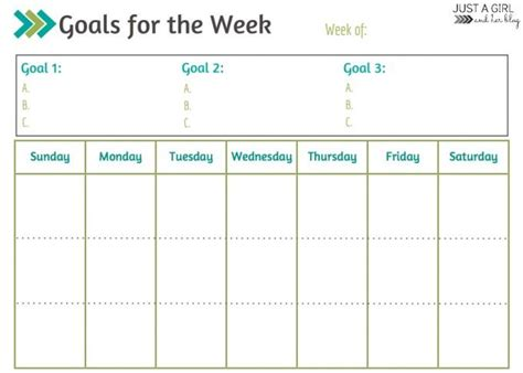 goal setting calendar template weekly goals printable free printable