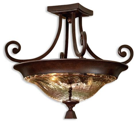 Traditional Semi Flush Ceiling Lights Elba 2 Light Glass Semi Flush Mount Traditional Flush Mount Ceiling Lighting By Fratantoni