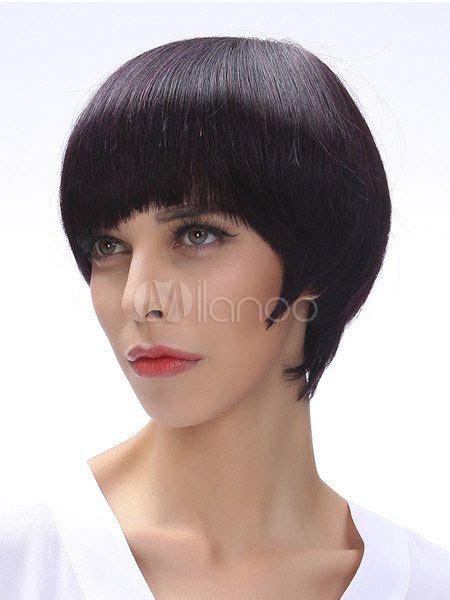 mushroom human hair wigs black human hair mushroom wig for women milanoo com