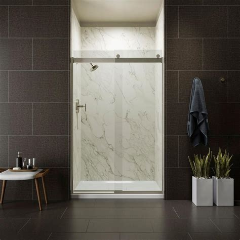 Semi Frameless Sliding Shower Doors Kohler Levity 48 In X 74 In Semi Frameless Sliding Shower Door In Nickel With Handle K 706008