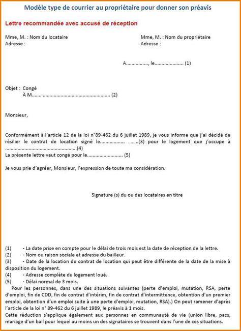 R Siliation De Bail Sans Pr Avis Lettre lettre de preavis location meublee 1st dibs us