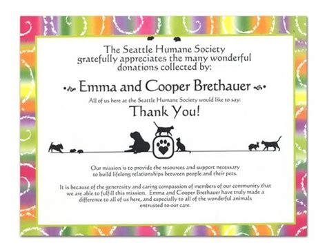 Thank You Letter For Donation To Animal Shelter The Seattle Humane Society Is Amazing Poppysts