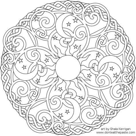 Mandala With The Sun The Moon And Az Coloring Pages
