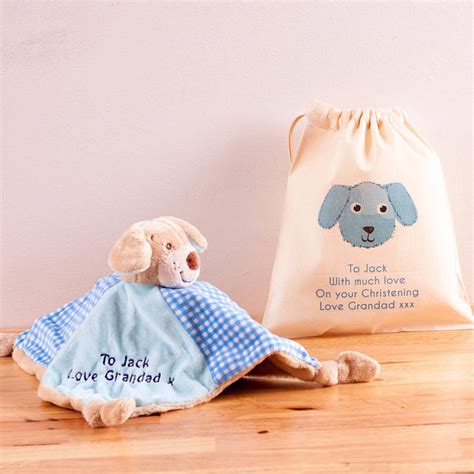 personalised comforter personalised baby comforter rattle and gift bag by british
