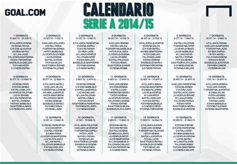 Calendario Serie A Calendario Serie A 2014 2015 Goal