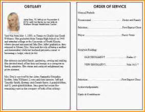 funeral obituary programs templates doc 621480 sle obituary program funeral program