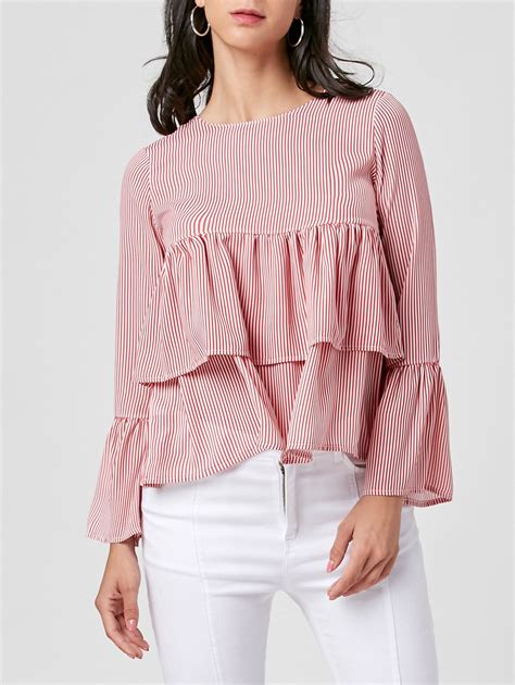 Sleeve Striped Blouse bell sleeve striped layered blouse in pink s sammydress