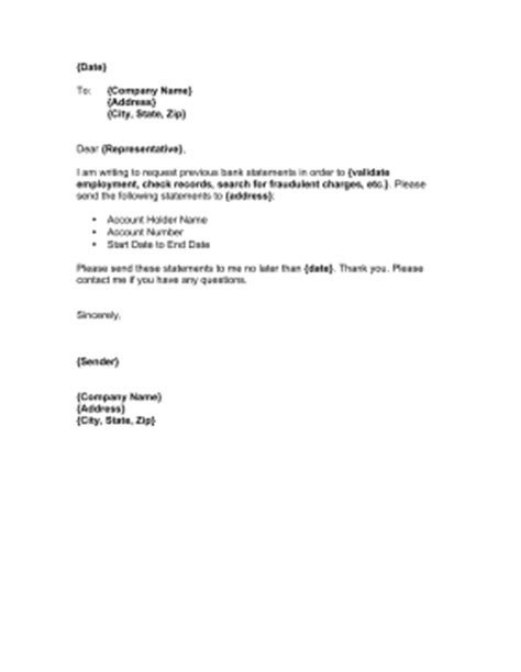 Bank Statement Letter Request Sle This Printable Letter From An Account Member Requests Bank Statements In Order To Validate