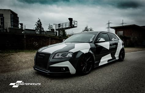 camo wrapped cars monsterwraps audi a3 stealth grey camo wrap car