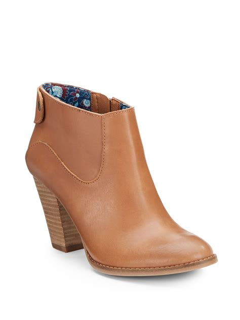 brand boots for lucky brand ubiza leather ankle boots in brown camel lyst