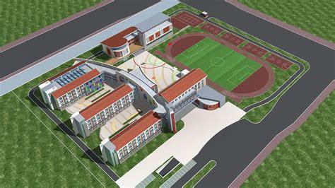 school building apartment building  model cgtrader
