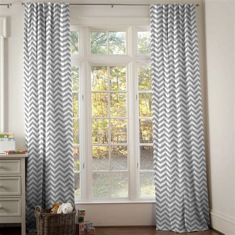 White And Gray Zig Zag Drape Panel Carousel Designs Nursery Curtains