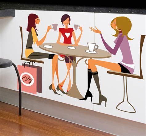 imagenes animadas tomando cafe vinilo tres chicas tomando caf 233 tenvinilo