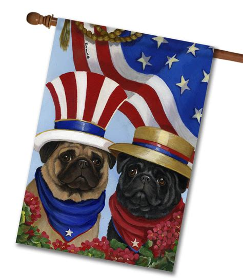 pug flags pug american pride house flag 28 x 40 custom printed flags flagology