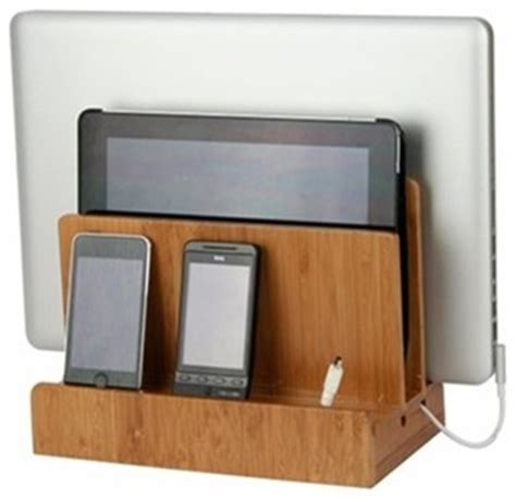 charging shelf station bamboo multi charging station