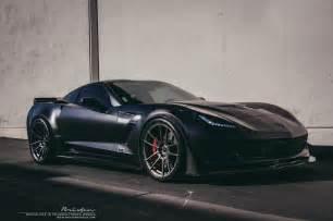 black corvette z06 with smoke black brixton forged wheels