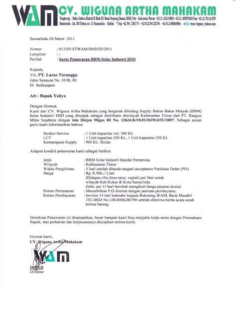 surat penawaran pt laras turangga