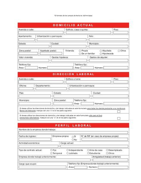 Planilla De Solicitud Credinomina Banco Bicentenario | planilla solicitud de tarjeta de credito del banco