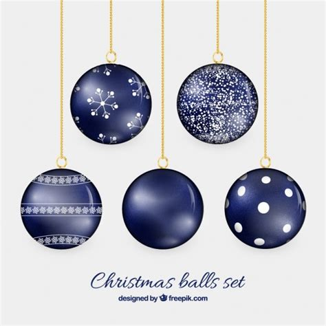 christmas balls in navy blue color vector free download