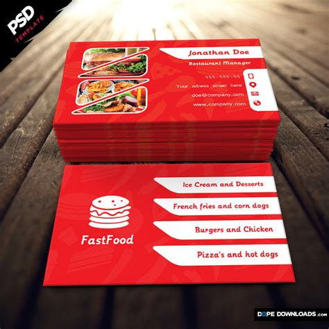 food business cards templates free 1 best