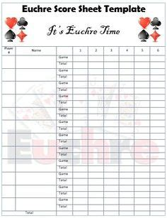 Progressive Whist Score Card Template by Free Printable Two Table Tally Score Sheets For Euchre
