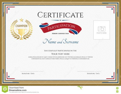 Certificate Of Participation Template In Sport Theme Stock