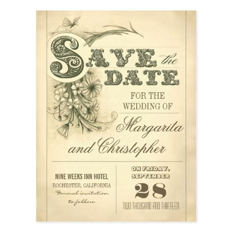 antique vintage typography save the date postcards zazzle