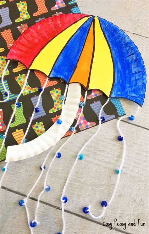 umbrella art pattern umbrella paper plate craft weather crafts for kids