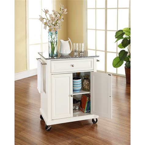 White Kitchen Island Granite Top Solid Granite Top Portable Kitchen Cart Island White Dcg Stores