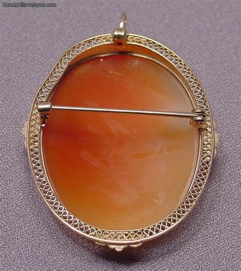 antique 10k deco cameo brooch pendant for sale