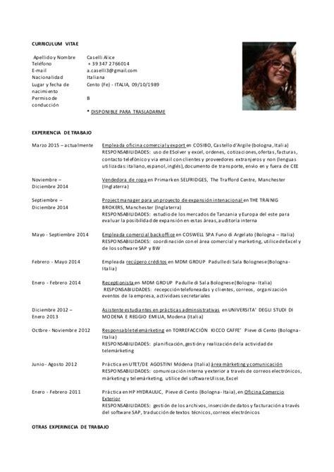 Modelo De Curriculum Vitae Para Trabajo En Oficina Cv Caselli Esp