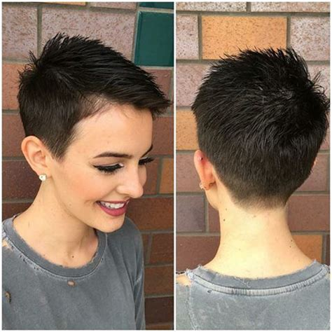 a really short pixi cut shaved in back sides curled witn iron on top pictures please 17 best images about pixie haircuts on pinterest short