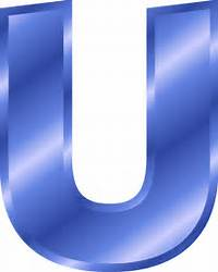 The Letter U In Blue Alphabet  Vector Clip Art