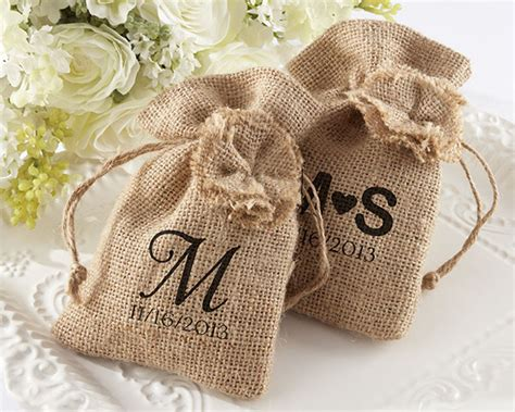 wedding favor burlap bags burlap favor bag with drawstring tie rustic wedding favors by kate aspen