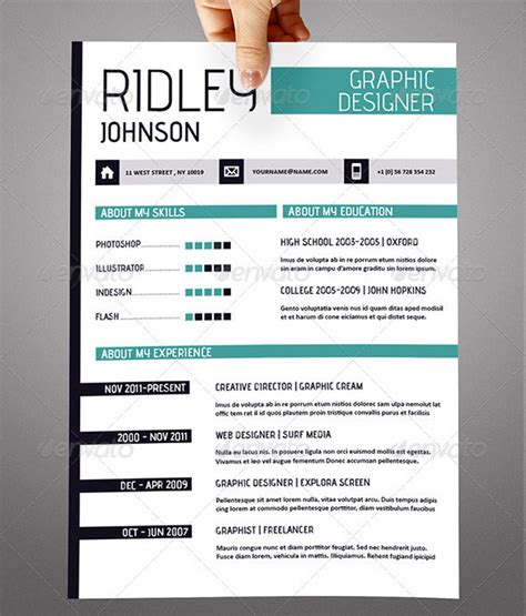 template resume free indesign 20 creative resume cv indesign templates design freebies
