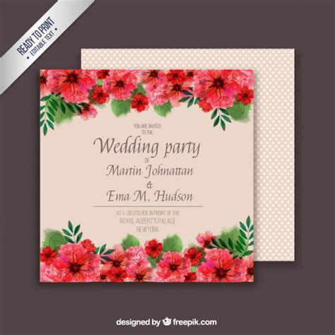 wedding card template with floral wedding card template vector free