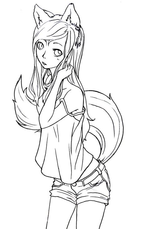 fox girl lineart by komorinight deviantart com legal