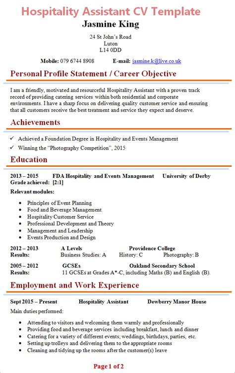 Hospitality Resume Template by Hospitality Assistant Cv Template 1