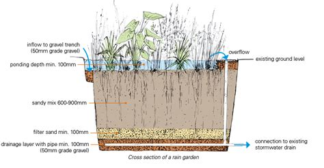 rain garden cross section cross section of a domestic raingarden kirstensach