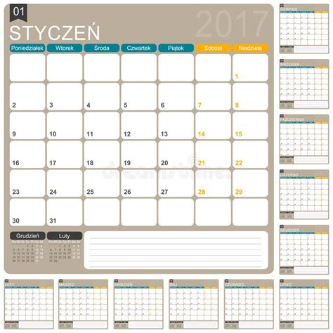 Poland Kalendar 2018 Calendar 2017 Stock Vector Image 64778107