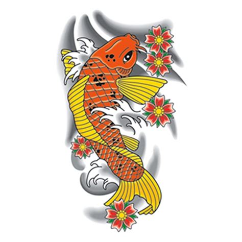 Temporary Tattoo Koi Fish | traditional orange koi fish temporary tattoo usimprints