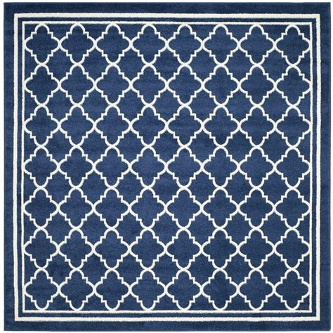 7 X 7 Square Area Rugs by Safavieh Amherst Navy Beige 7 Ft X 7 Ft Indoor Outdoor