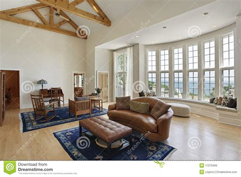 living room curved windows stock photo image