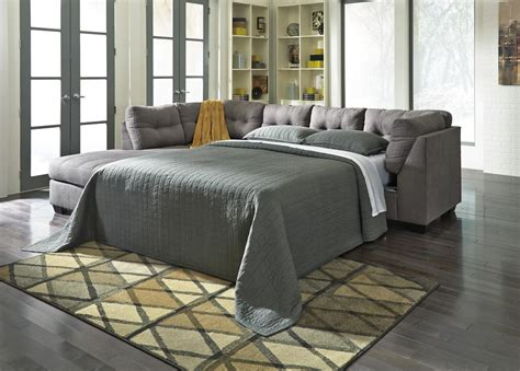 ashley sectional sleeper benchcraft by ashley maier 4520016 4520083 grey fabric