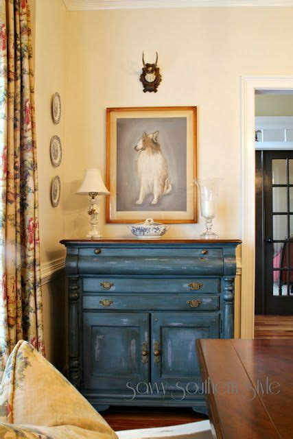 Blue Dining Room Buffet Prussian Blue Buffet Yellow Walls Savvy Southern Style